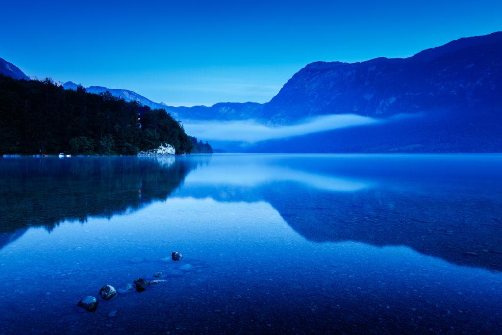 Dawn light over Lake Bohinj, Triglav National Park, Slovenia