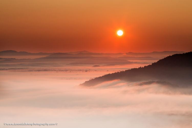 sunrise over the mist on the Ljubljana Moors (Ljubljansko Barje), a large area of wetland 160 square kilometres in size.